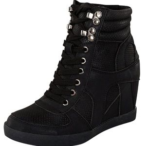 TOP Moda Shoes - High Top Lace Up Fashion Sneaker Wedge Booties BLK